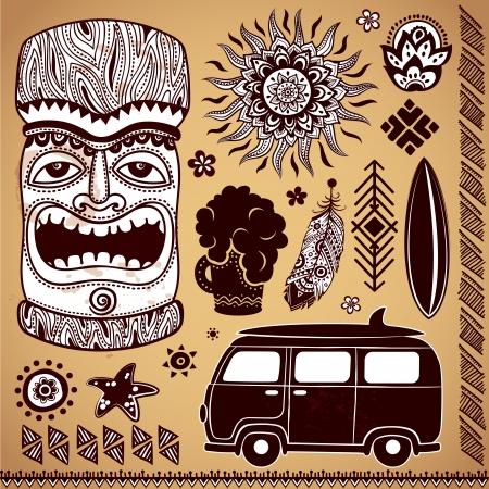 Set von Vintage-Tiki-Design-Elemente Illustration