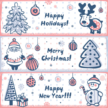 Vintage Christmas set of design elements Vector