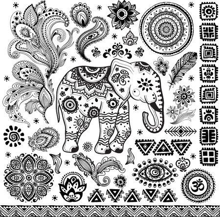 elephants: Establecer ilustraci�n patr�n �tnico de la vendimia Tribal