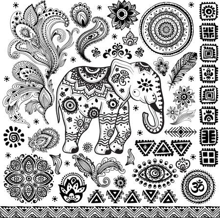 feathers: Tribal vintage ethnic pattern set illustration