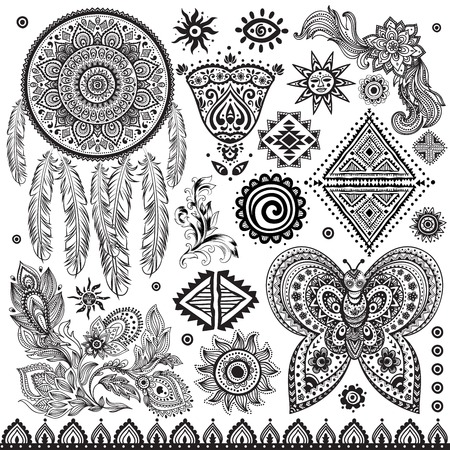 Tribal vintage ethnic pattern set illustration Vector