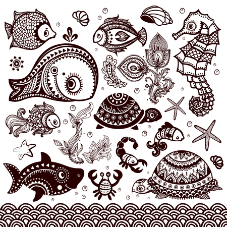 set of fish, shells and flowers with ornaments Stock Vector - 25029442