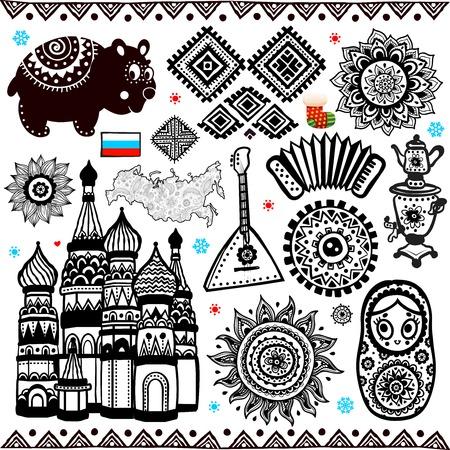 muñecas rusas: Conjunto de elementos ornamentales folclórico ruso y símbolos