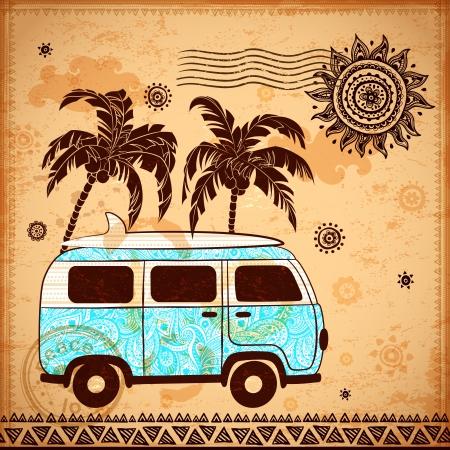 mode retro: Retro Travel bus met vintage achtergrond Stock Illustratie
