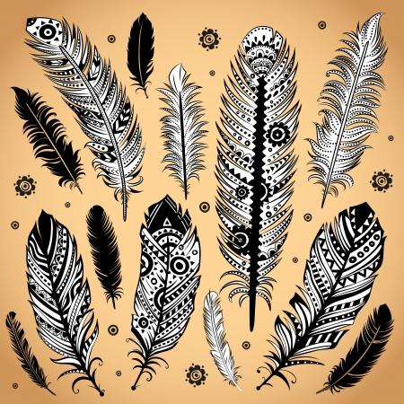 tollas: Divat etnikai tollal illusztráció Illusztráció