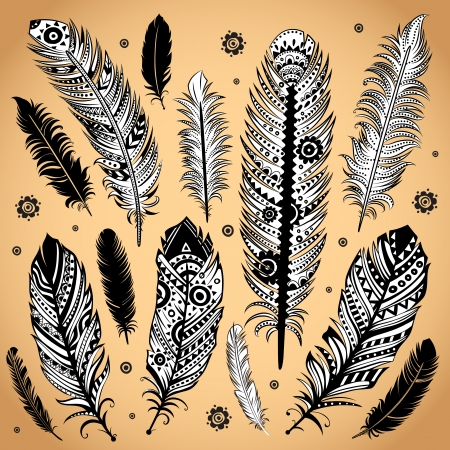 Fashion ethnic feather illustration Иллюстрация