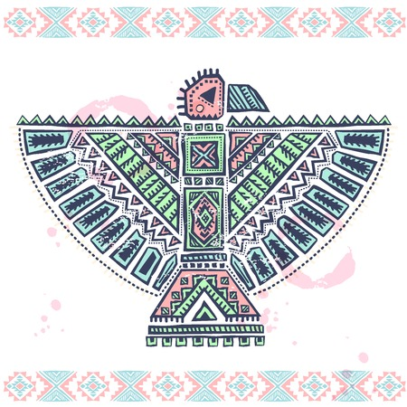 Tribal vintage native American eagle illustration with ornaments Vector