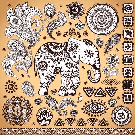 indian elephant: Patr�n �tnico de la vendimia tribal conjunto Ilustraci�n para su negocio