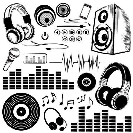 Set van schetsmatig muziek symbolen en pictogrammen