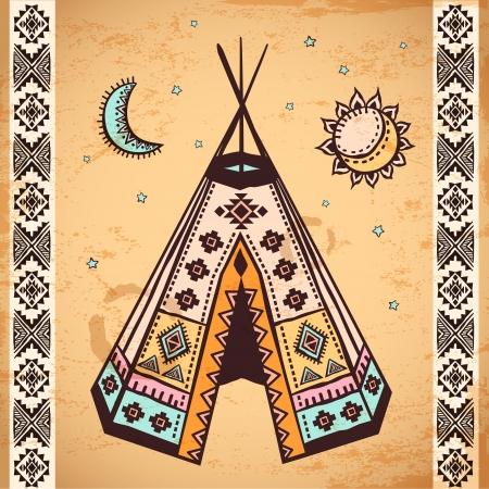 indio americano: Conjunto americano tribal vendimia nativa de los símbolos Vectores