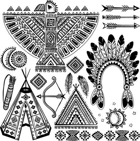 indio americano: Conjunto americano tribal vendimia nativa de los s�mbolos Vectores