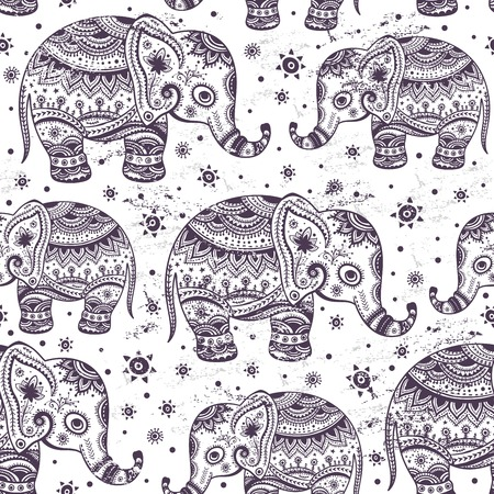 folkloric: Ethnic elephant seamless pattern Illustration