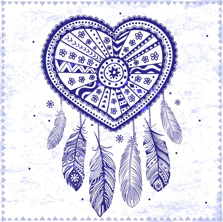 Beautiful Valentines day heart with ethnic feathers Vector