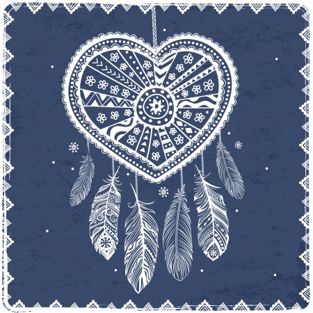 Beautiful Valentine's day heart with ethnic feathers Vector