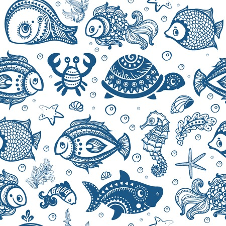 Vector set of fish and shells  Vector