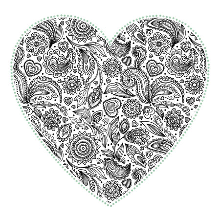 Beautiful Valentines day heart with floral ornament Vector