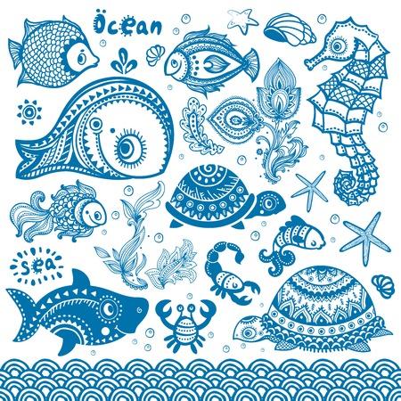 Vector set of fish and shells Illustration
