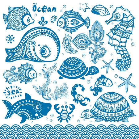 seawater: Vector set of fish and shells Illustration