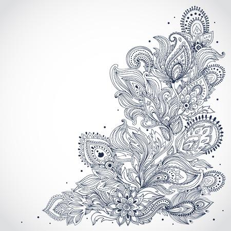 아름다운 인도의 꽃 장식 일러스트