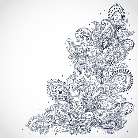 disegni cachemire: Bella ornamento floreale indiano