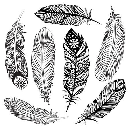 pluma: Aislado Conjunto de plumas tribales étnicos negros Vectores