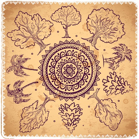 Vintage trees of life illustration can be used as a greeting card Vector
