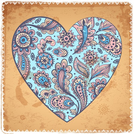 Beautiful Valentine's day heart with ethnic feathers