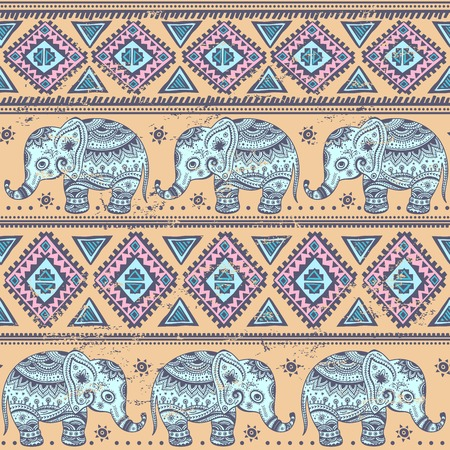Funny Ethnic elephant seamless   for your business Vector