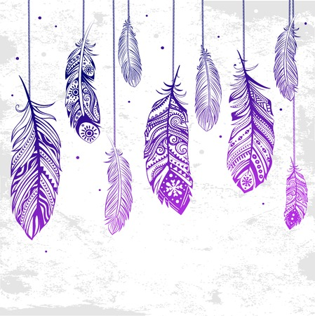 Beautiful illustration of feathers can be used as a greeting card Иллюстрация