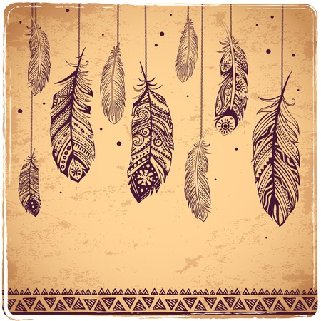 Beautiful illustration of feathers can be used as a greeting card Vettoriali