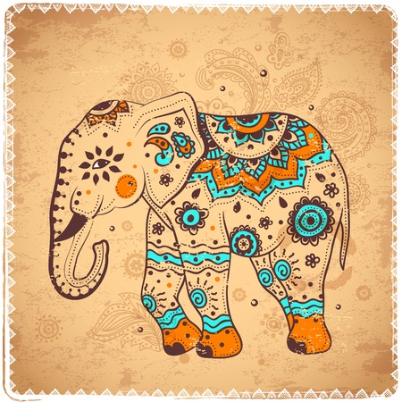 indian elephant: Vintage elephant illustration cand be used as a greeting card Illustration