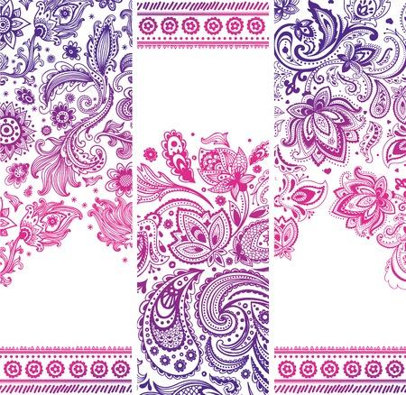 Schöne Vintage Blumen Reihe von Banner für Ihr Unternehmen Illustration