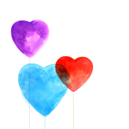 Watercolor beautiful hearts illustration  for Valentines day Vector