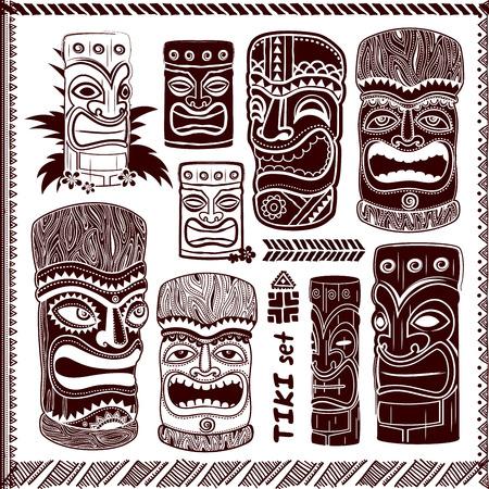 beach party: Vintage Aloha Tik iconsi set for your business Illustration
