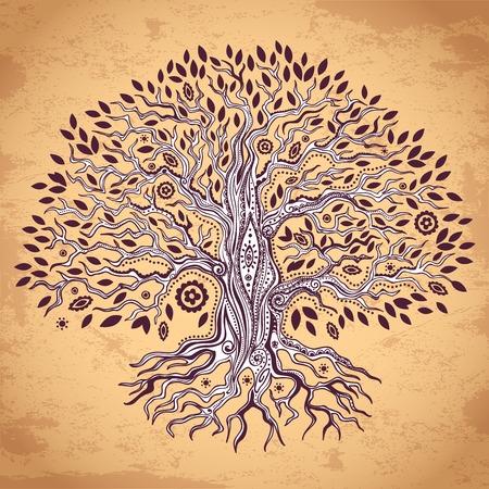 vida: Conjunto de la vendimia de los árboles se puede utilizar como una tarjeta de felicitación Vectores
