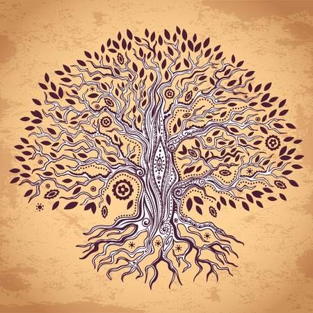 hand tree: Vintage set of trees can be used as a greeting card Illustration