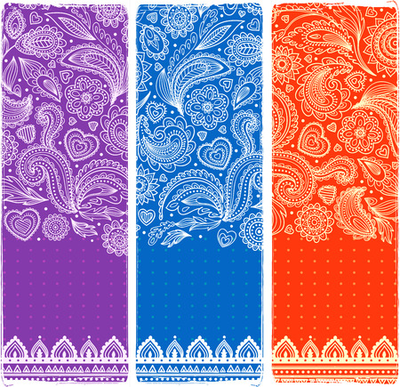 Beautiful vintage floral set of banners