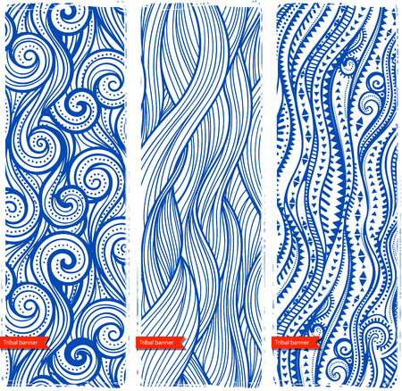 waves: Vintage set of banners with ethnic waves Illustration