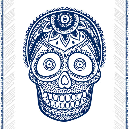 death symbol: Vintage ethnic hand drawn human skull can be used as a greeting card Illustration