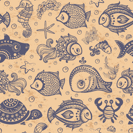 Vector fish and shells seamless for you business Vector