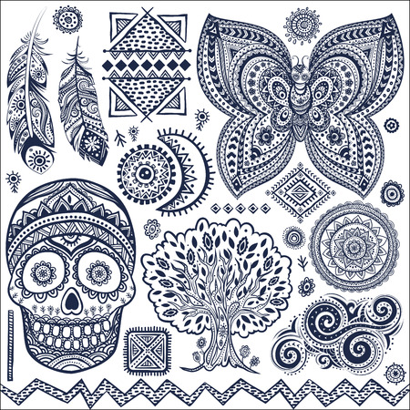 tribales: Conjunto de elementos tribales ornamentales aislados y símbolos