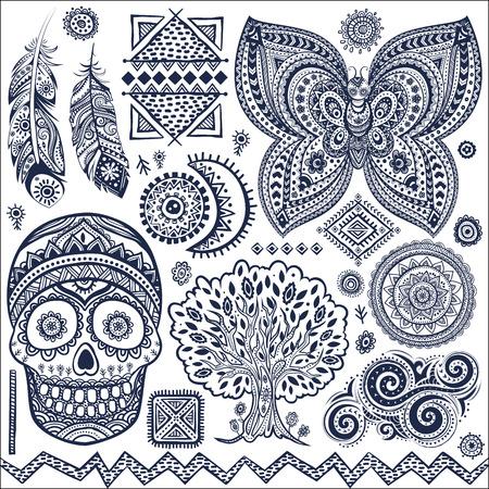 deces: Ensemble d'�l�ments ornementaux tribales isol�es et des symboles Illustration