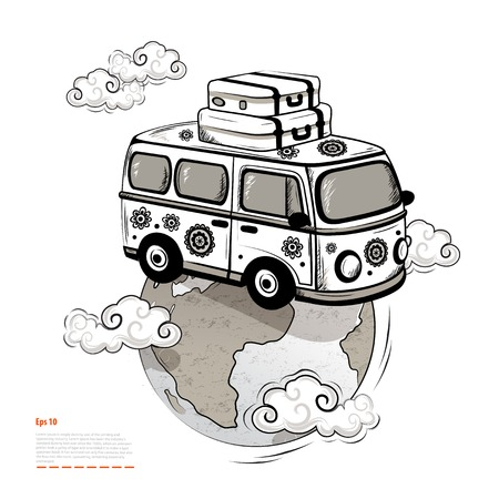 Retro Isolated Travel bus  Vector