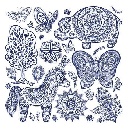 Mantra: Vintage Satz von ethnischen Tiere Illustration