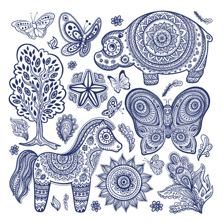 mantra: Vintage set of ethnic animals Illustration