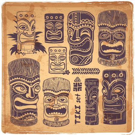Vintage Aloha Tiki icons set Stock Illustratie