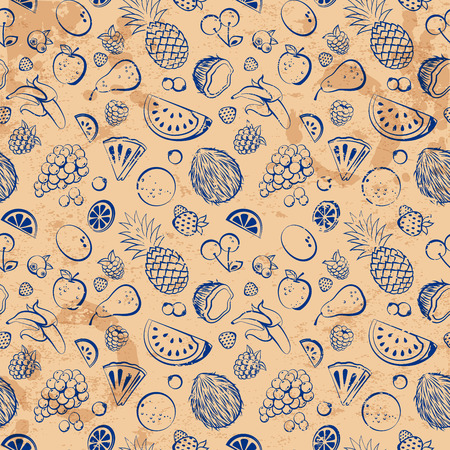 Hand drawn vintage fruit seamless background Vector