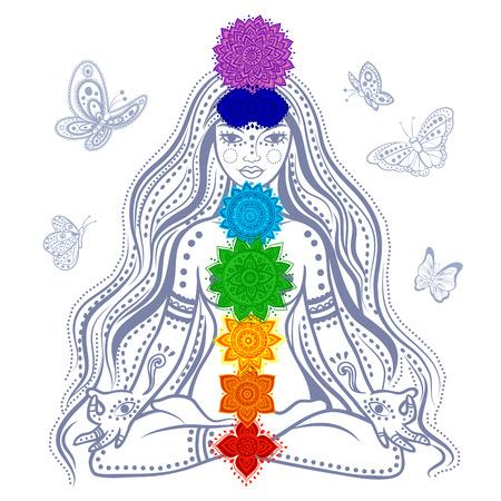 Illustration von einem Mädchen mit 7 Chakren und Schmetterlinge