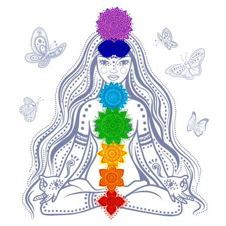 yoga meditation: Illustrazione di una ragazza con 7 chakra e farfalle Vettoriali