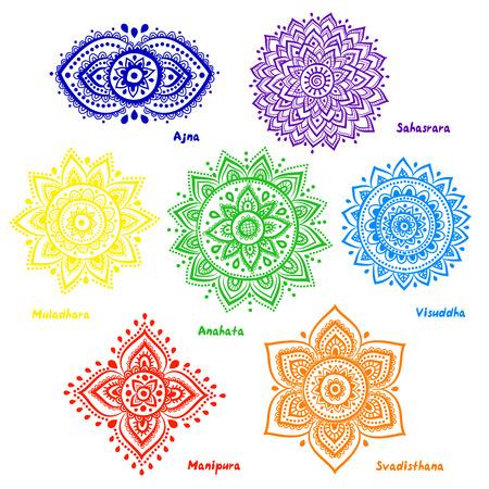 상징: 아름다운 장식 7 차크라의 고립 된 집합